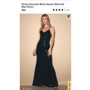 Lulus Divine Occasion Black Sequin Mermaid Dress